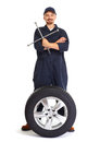 Car mechanic with a tire wrench. Royalty Free Stock Photo
