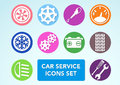 Car minimalistic icons set clip art Royalty Free Stock Images
