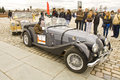 Car morgan on rally of classical cars moscow april retro poklonnaya hill april in town russia Royalty Free Stock Images