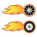 Car and motorcycle wheel with flame Stock Photography