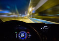 car moving on highway at night Royalty Free Stock Photo