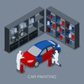 Car Painting Autoservice Isometric Banner