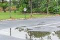 Car park and garden after raining Stock Photography