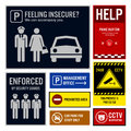 Car park safety and security signboards a set of representing they are helps offered by guards to accompany woman to her panic Royalty Free Stock Image