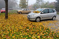 Car parking in the autumn lot with cars and fog and leaves country Royalty Free Stock Photography