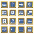 Car parking icons set blue