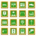 Car parking icons set green
