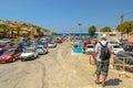 Car parking near Matala beach on Crete island Royalty Free Stock Photo