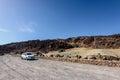 Car parking among volcanic hills at teide national par on tenerife island spain december Royalty Free Stock Images