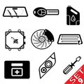 Car part icon set 9 Stock Photo