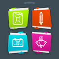 Car parts and accessories from left to right jerrycan shock absorber first kit aid temperature indicator folded vector icons set Stock Photography