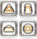 Car parts and accessories pictured here from left to right top to bottom warning triangle fuel pomp mirror balls bearing the Royalty Free Stock Photo