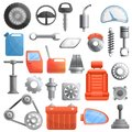 Car parts icons set, cartoon style