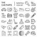 Car parts line icon set, automobile details symbols collection, vector sketches, logo illustrations, vehicle signs