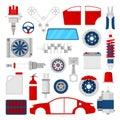 Car Parts Set Auto Service Repair Icons