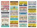 Car plates. Highway automobile license numbers old retro style vector signs collection