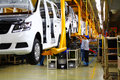 Car production line the is in a factory Royalty Free Stock Images