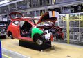 Car production line on which the products cars Royalty Free Stock Image