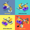 Car production phases. Automated machinery line. Industrial isometric vector illustrations