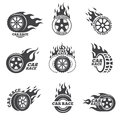 Car race logo set. Wheel with fire flame Royalty Free Stock Photo