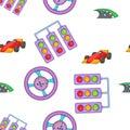 Car race pattern, cartoon style