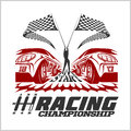 Car racing emblem and championship race badge Royalty Free Stock Photo