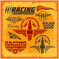 Car racing emblems and championship race vector set of badges Royalty Free Stock Images