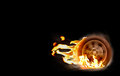 Car racing spinning wheel burns rubber on fire. Royalty Free Stock Photo