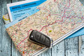 Car remote key on map Royalty Free Stock Photo