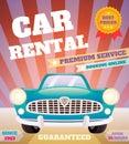 Car rental retro poster premium service automobile advertising vector illustration Royalty Free Stock Photos