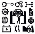 Car repair icon vector black set on white Royalty Free Stock Image