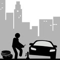 Car repair a man repairing his with a city background Royalty Free Stock Photo