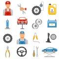 Car Repair Service Flat Icons Set