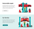 Car repair shop station vector banner, repairman working, workshop garage