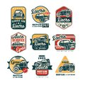 Car repair vintage style labels set, auto service logo, badge vector Illustrations on a white background