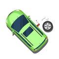 Car, replacement of wheels, repair work. Top view. Vector illust