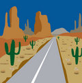 Car road amongst cactus and sand Royalty Free Stock Images
