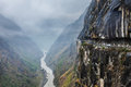 Car on road in himalayas mountains above precipice Royalty Free Stock Photo