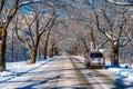 Car on road in winter, Seoraksan in Korea. Royalty Free Stock Photo