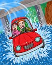Car running fast and crash jump to the river Royalty Free Stock Photo