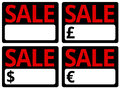 Car sale signs set of in currencies ideal for printing out Stock Images