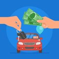 Car sale vector illustration customer buying automobile from dealer concept salesman giving key to new owner hand holding and Royalty Free Stock Photos