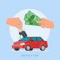 Car sale vector illustration. Customer buying automobile from dealer concept. Salesman giving key to new owner. Royalty Free Stock Photo