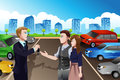 Car salesman with customers in the dealership a vector illustration of giving key of new to customer Stock Photos