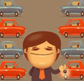 Car salesman vector format authors illustration in Stock Images