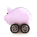 Car savings piggy bank with wheels on a white back ground money on a vehicle concept for buying renting insurance fuel service and Stock Photo