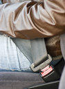 Car seat-belt fastened Royalty Free Stock Images