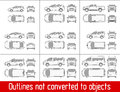 Car sedan and suv and van all view drawing outlines not converted to objects Royalty Free Stock Photo
