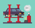 Car service. Auto diagnostics and transport repair, tire change