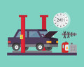 Car service. Auto diagnostics and transport repair. Vector illustration.
